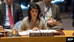 ՄԱԿ-ում ԱՄՆ դեսպան Նիքի Հեյլին Անվտանգության խորհրդի նիստի ժամանակ, փետրվար, 2017թ․