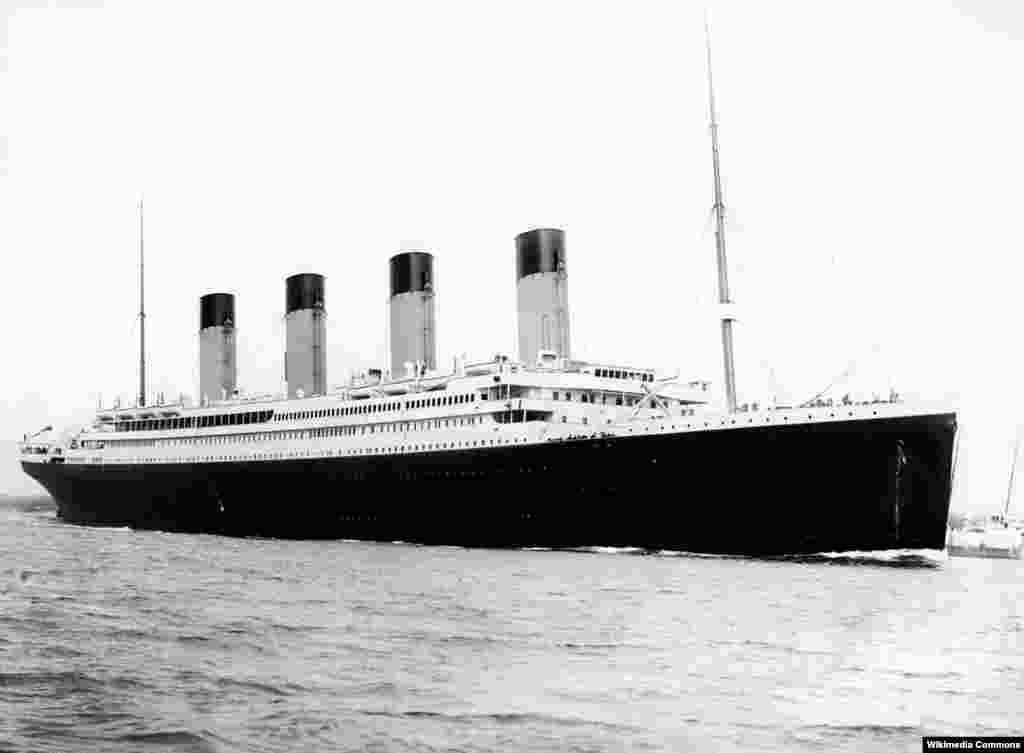 "The ""Titanic"" departing Southampton on the southern coast of England on April 10, 1912."