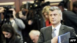 Kosovo Prime Minister Hashim Thaci in parliament in February