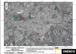 Харитада ЮНЕСКО рўйхатига киритилган тарихий ҳудуд қизил доира ичига¸ буфер зона эса¸ сариқ доира ичига олинган.