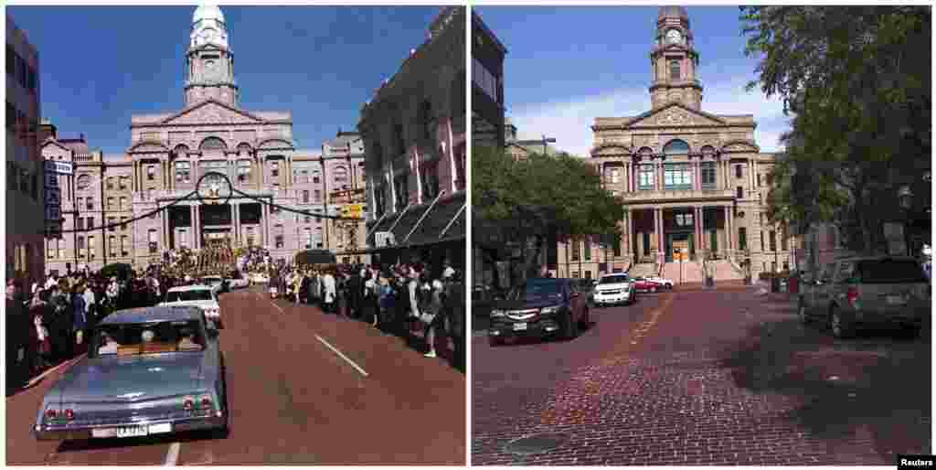 Left photo: The motorcade of U.S. President John F. Kennedy as it moves through downtown Fort Worth, Texas, on November 22, 1963. Right photo: The Tarrant County Courthouse seen from Main Street in downtown Fort Worth, Texas, on November 8, 2013.