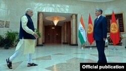 Indian Prime Minister Narendra Modi and the President of Kyrgyzstan Almazbek Atambayev. July 12, 2015