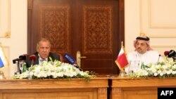 وزیر خارجه قطر (راست) در دیدار با همتای روسیاش