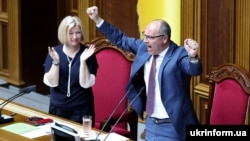 Outgoing Ukrainian parliament speaker Andriy Parubiy reacts on July 11 after the legislature voted to amend the Electoral Code.
