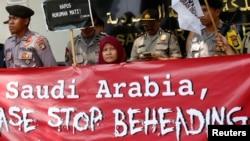 اعتراض در مقابل سفارت عربستان در جاکارتا در واکنش به اعدام یک تبعه اندونزی توسط ریاض