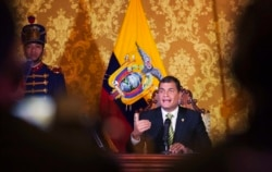 Президент Эквадора Рафаэль Корреа обращается к нации