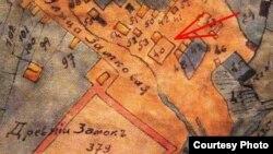 Сынагога на пляне Крэва за 1869 год, пазначана нумарам 40 (з праекту дабрачыннага фонду «Крэўскі замак»)