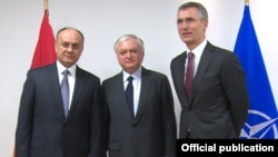 Belgium - From R to L: Jens Stoltenberg, NATO's Secretary General, Edward Nalbandian, Armenian Foreign Minister, and Seyran Ohanian, Armenian Minister of Defense, in Brussels,09Mar,2016