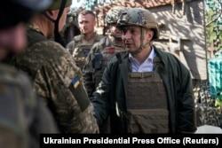 Ukrainian President Volodymyr Zelenskiy visits army positions in the Donetsk region on October 14.