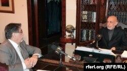 Presidenti i Afganistanit, Hamid Karzai, gjatë intervistës për Radion Evropa e Lirë.