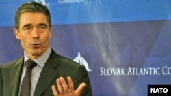 NATO Secretary-General Anders Fogh Rasmussen at the informal NATO meeting in Bratislava on October 22