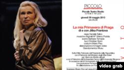 """Jitka Frantová și afișul spectacolului ei de la Milano: """"Primăvara mea de la Praga"""" (2008)"""