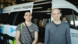 Belarus - Political prisoners Vasil Babrouski and Uladzimer Navumik after release from prison. Minsk, 9Jul2020