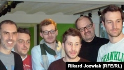 "Cedric Cauderlier (second from left) and friends grow beards ""for Belgium."""