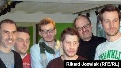 "Cedric Cauderlier (second from left) and friends grow beards ""for Belgium."""