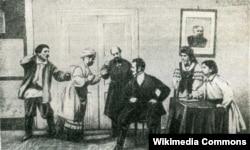 Сцэна са спэктакля «Па рэвізіі». 1910 год