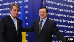 The EU and Commission President Jose Manuel Barroso (right) will unveil the Eastern Partnership reaching out to Ukraine and five other former Soviet states.