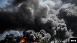 Газадагы электр станция атылгандан кийинки көрүнүш. 29-июль, 2014-жыл.