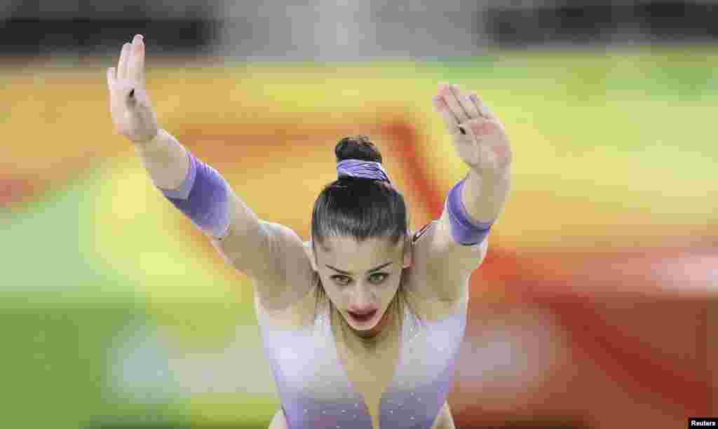 Tutya Yilmaz of Turkey competes on the floor in artistic gymnastics.