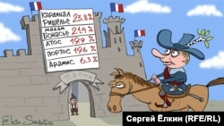 Putin cannot be happy about how the French election is shaping up. (cartoon by Sergei Elkin, RFE/RL)