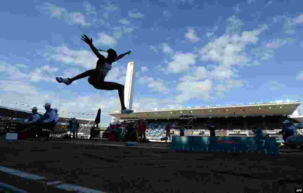 Germany's Sosthene Taroum Moguenara competes in the women's long jump heats at the 2012 European Athletics Championships at the Olympic Stadium in Helsinki.