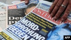 صفحه نخست یک روزنامه اتریشی در ۱۶ مارس ۲۰۰۹. فریتزل در صفحه نخست