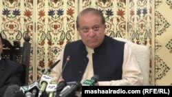 Ousted Prime Minister Nawaz Sharif addresses the press in Islamabad on September 26.
