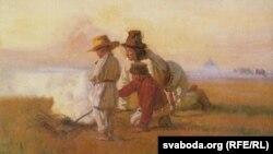 Юзэф Хэлмоньскі, «Пастушкі пры вогнішчы» (1900)