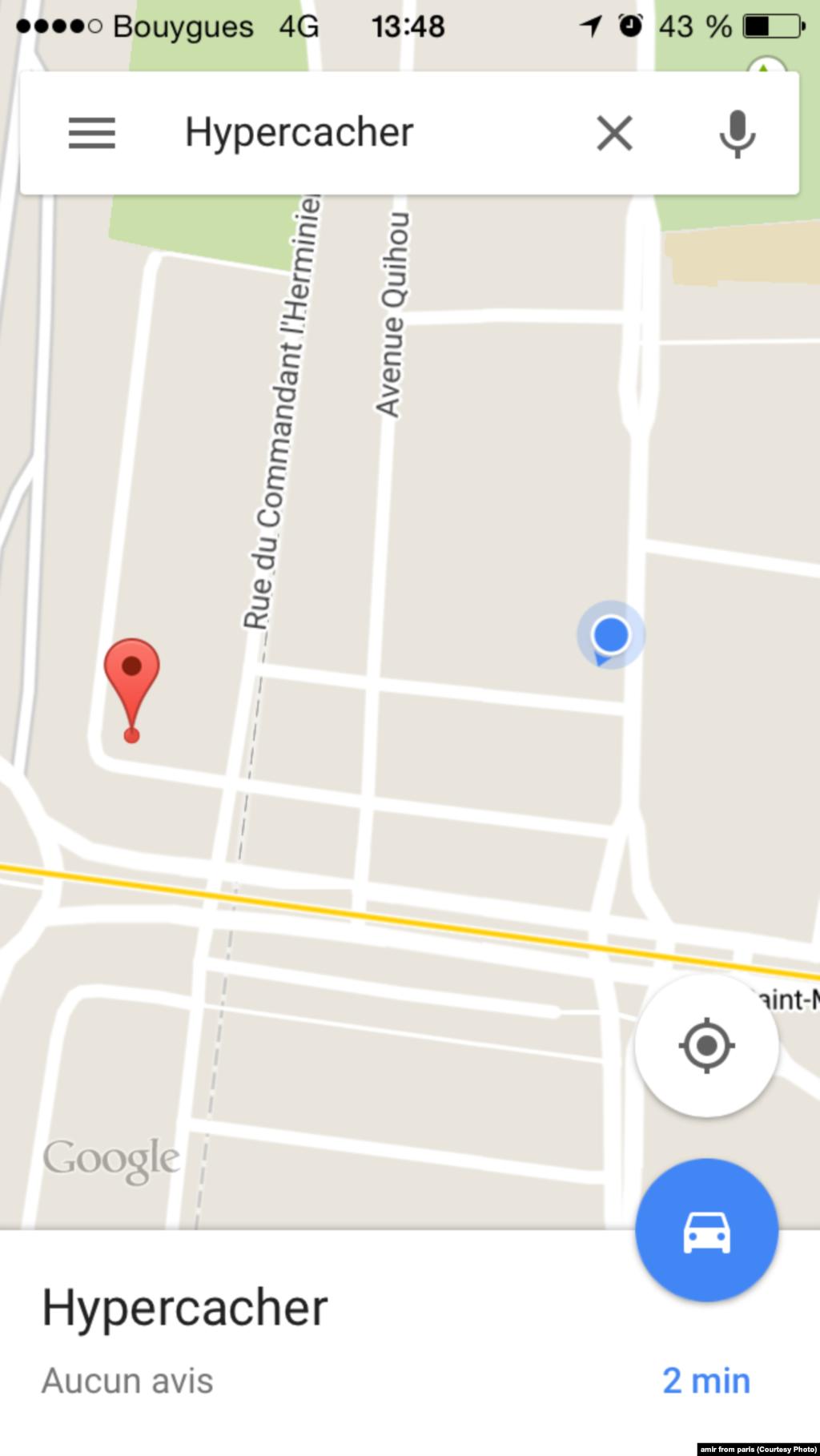 محل گروگانگیری امروز در یک سوپرمارکت در پاریس روی نقشه.