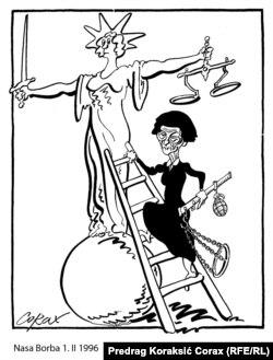 Karikatura iz arhive Predraga Koraksića Coraxa