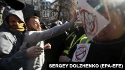 Эпизод противостояния полиции и протестующих. Киев, 9 марта 2019