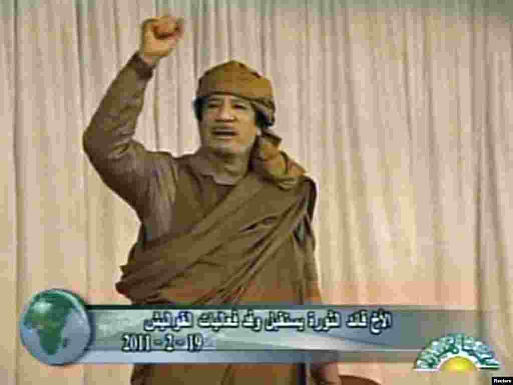 Гадафи на собирот на неговите подржувачи 19.02.2011