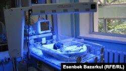 Новорожденный ребенок в палате родильного дома. Алматы, 24 августа 2010 года.
