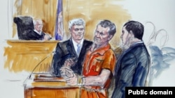 An artist's rendering shows Irek Hamidullin, front center, his attorney Robert Wagner, front left, and interpreter Ihab Samra, front right, as judge Henry Hudson, left, listens in Federal Court in Richmond, Virginia, in November 2014.