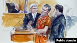 Artist rendering shows Irek Hamidullin, front center, his attorney Robert Wagner, front left, and interpreter Ihab Samra, front right, as judge Henry Hudson, left, listens in Federal Court in Richmond, Va., in 2014.
