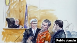 Artist rendering shows Irek Hamidullin, front center, his attorney Robert Wagner, front left, and interpreter Ihab Samra, front right, as judge Henry Hudson, left, listens in Federal Court in Richmond, Virginia, in November 2014.