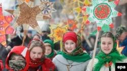 Рождественский парад в центре Киева, 7 января 2017 года. Иллюстрационное фото