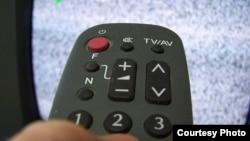 Дистанционный пульт управления телевизором.