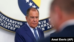 Russian Foreign Minister Sergei Lavrov arrives for a press conference in Sarajevo on September 21.