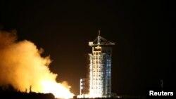 Қытайдың алғашқы квантты байланыс спутнигін ұшыру сәті. Ганьсу провинциясы, Цзюцюань ғарыш айлағы. 16 тамыз 2016 жыл.