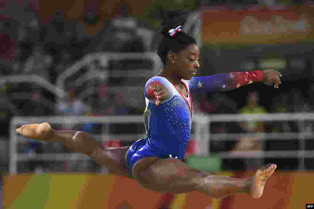 U.S. gymnast Simone Biles competes in the final of the women's floor event of the artistic gymnastics, where she took a fourth gold medal.