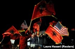 Slavlje pristalica Samoopredeljenja na ulicama Prištine