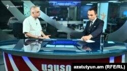Зампред АНК Левон Зурабян в студии Азатутюн ТВ, Ереван, 16 августа 2018 г.