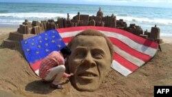 Индийский художник Садаран Паттнаик поздравил Барака Обаму с победой