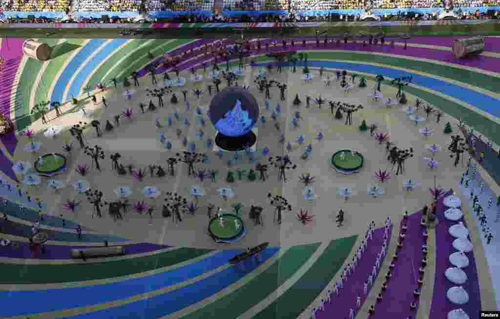A view of the opening ceremony performance from the top of the arena.