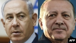 A composite file photo of Israeli Prime Minister Benjamin Netanyahu (left) attending the weekly cabinet meeting in Jerusalem and Turkish President Recep Tayyip Erdogan.