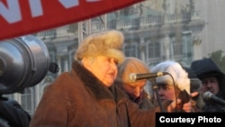 Russian opposition activist Marina Salye speaking at a For Fair Elections protest in St. Petersburg last month.