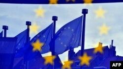 Zastave Evropske unije ispred zgrade Evropske komisije, Brisel