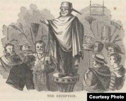 Шутовской «прием у императора», разыгранный матросами «Квакер-сити». Иллюстрация Тру Вильямса из первого издания «Простаков за границей» (1869)