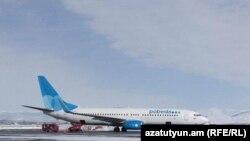 Самолет авиакомпании «Победа» в гюмринском аэропорту «Ширак» (архив)
